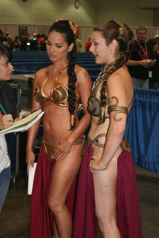 Nude women dressed as princes leia