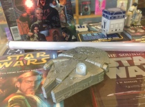 close up on the Millennium Falcon. this was a case for a watch that was inside the ship like what a smuggler would do on any Kessel runs.